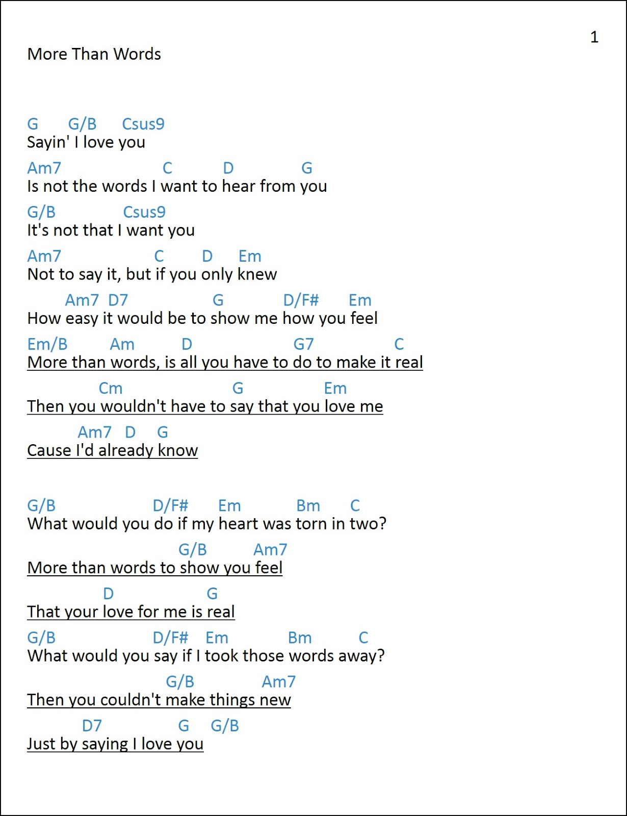 Mattwins More Than Words Lyrics And Chords Extreme