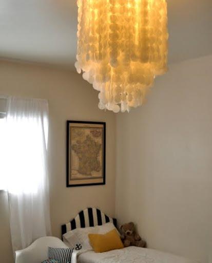 faux capiz chandelier lit