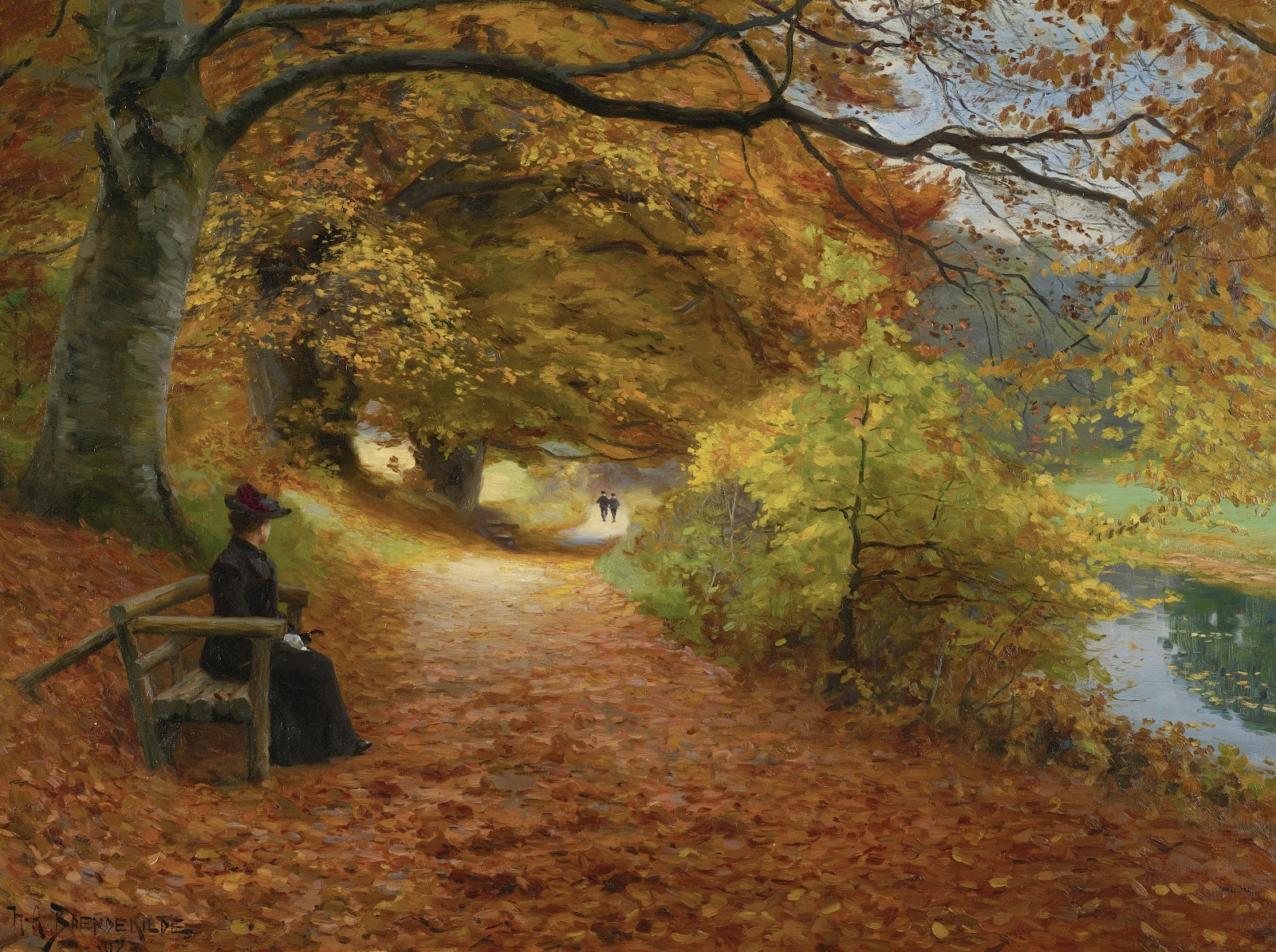 Hans Andersen  rendekilde Wooded Path In Autumn