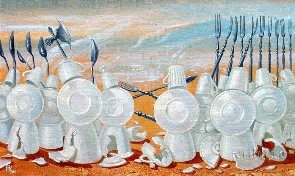 Gennady Privedentsev pinturas arte surreal Guerra de pratos