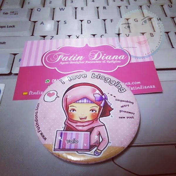Hadiah menang Giveaway Button Badge dari Blogger FD fatin diana
