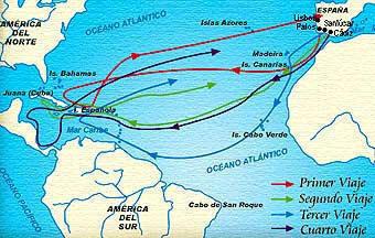 Dibujo de la ruta de los viajes de Cristobal Colón