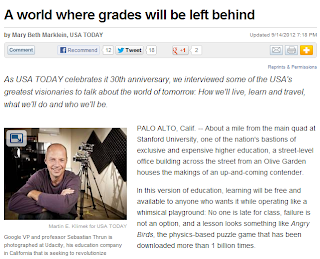 "Screenshot of the article ""A World Where Grades Will be Left Behind"""