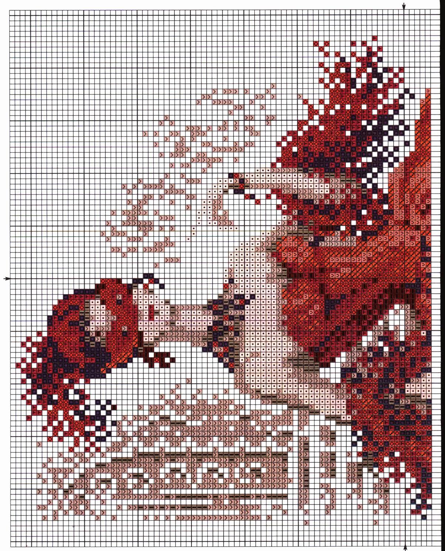 Схемы вышивок на красном