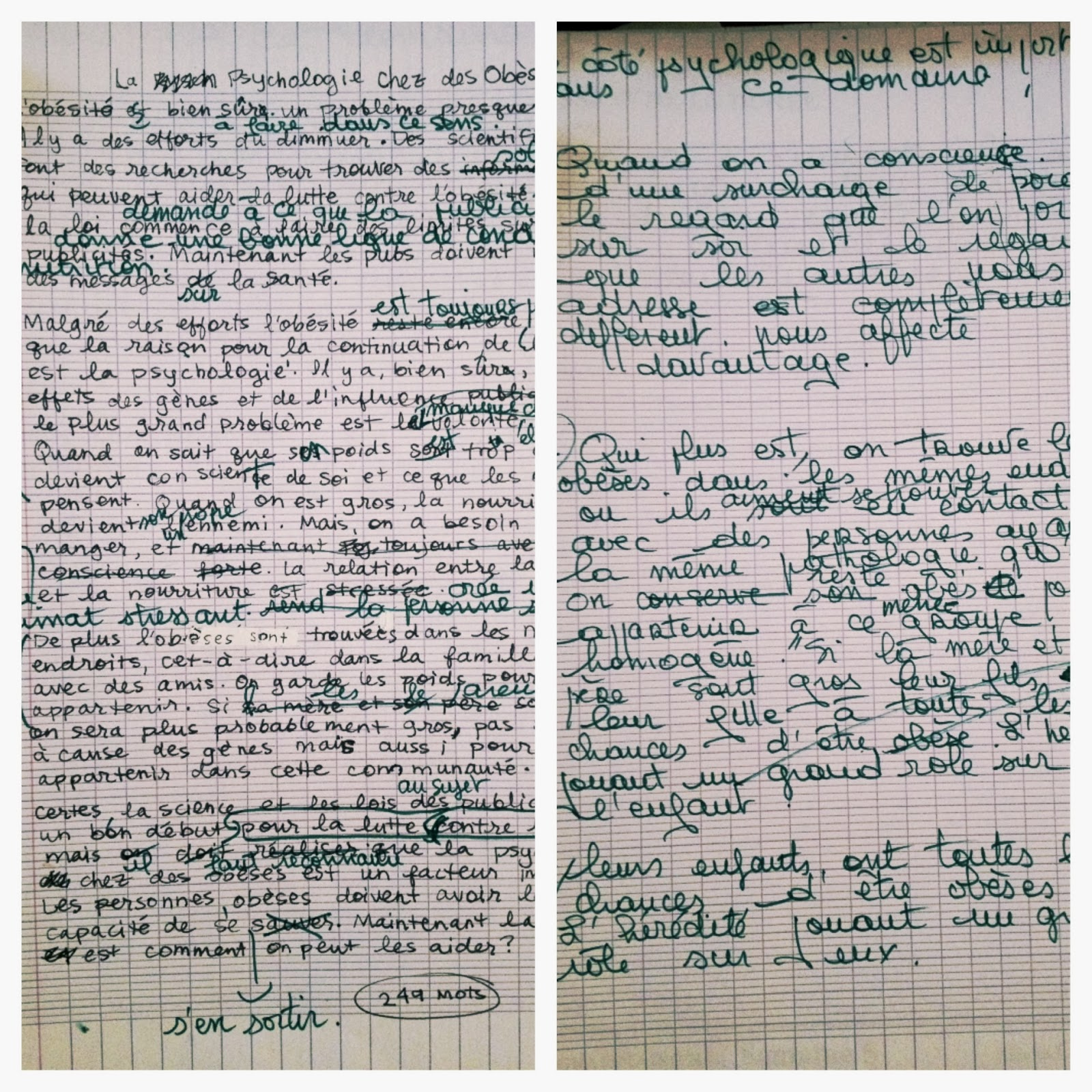 bells and whistles on the left is my original essay gone over her corrections on the right is a continuation of her corrections pretty sure she ended up writing more