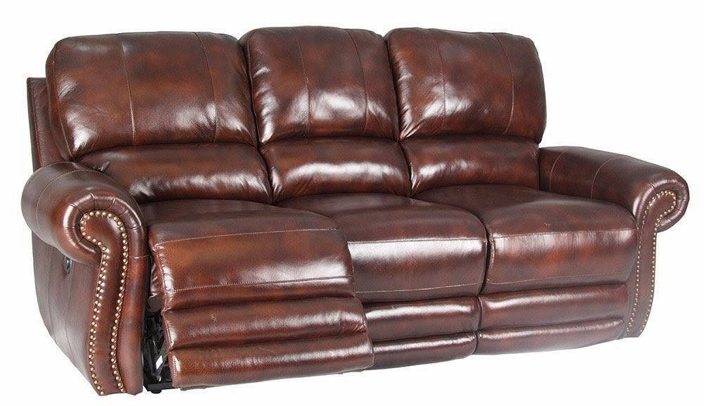 Cheap Reclining Sofas Sale: Dual Power Reclining Leather Sofa