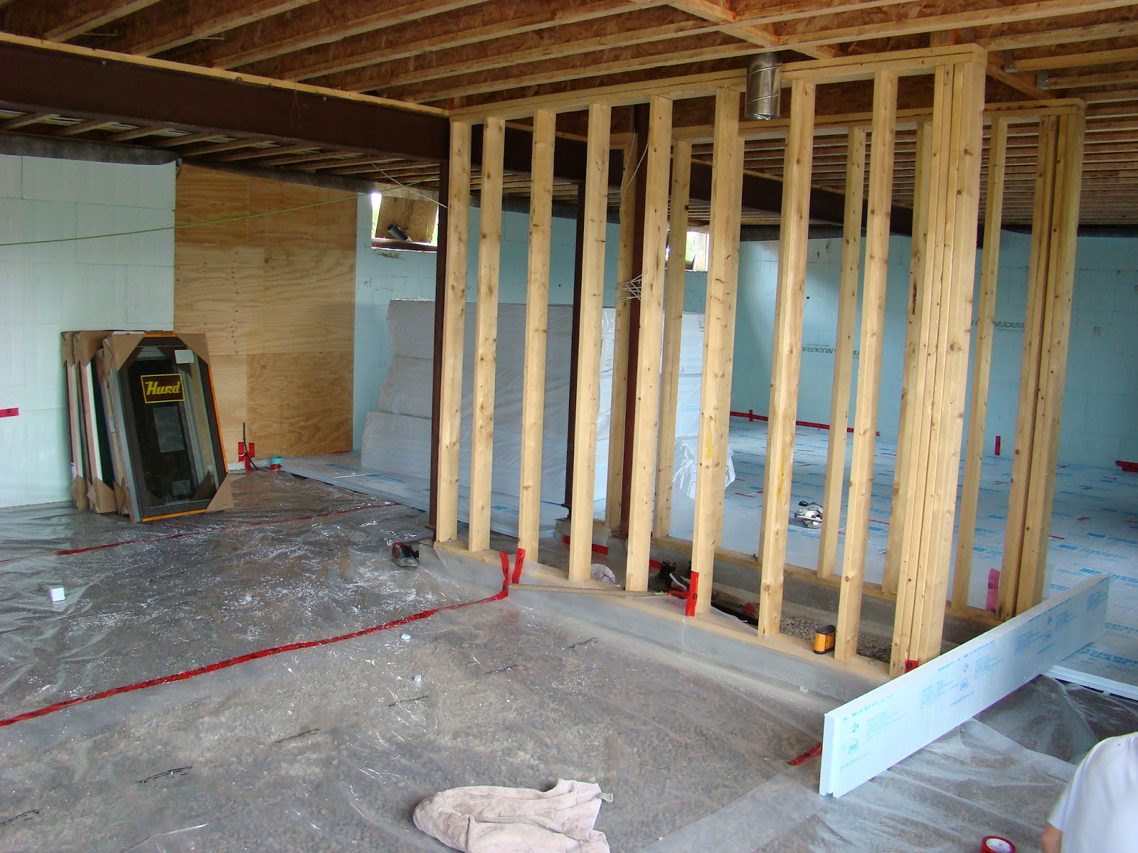 Vapor barrier and rigid foam in place in basement. & Building Walnut Farm: August 2012