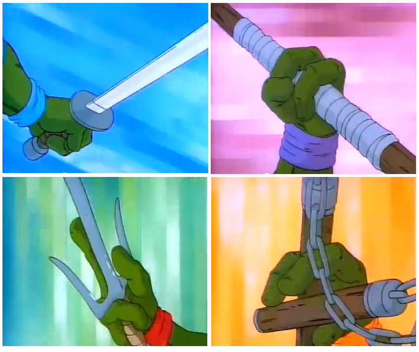 Teenage Mutant Ninja Turtles Leonardo wields two katanas, Michelangelo wields a pair of nunchaku, Donatello  wields a bo staff, Raphael wields a pair of sai
