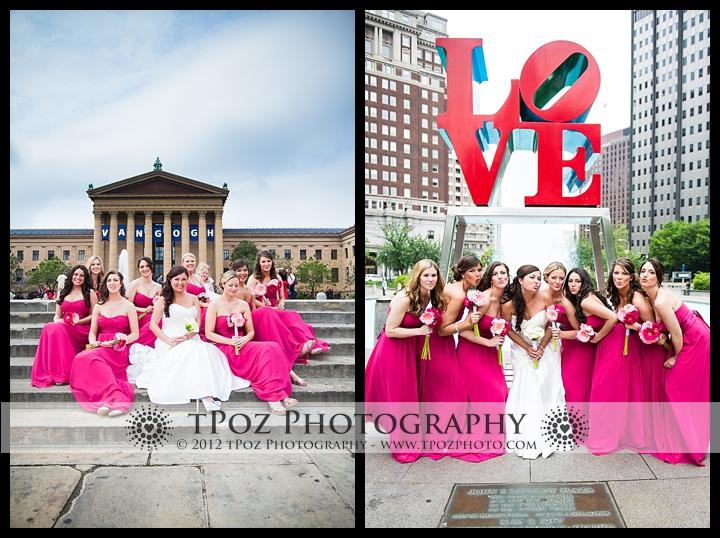 Love Park Philadelphia Art museum wedding bridesmaids