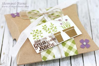 Stampinup Thinlitsform Pillowbox, Thinlits Luftkissenbox, Stampin Up Küchengeschenke, Geschenkverpackung Küche, Hochzeitsgeschenke Gäste, Stempel-Biene, Bestellen stampinup