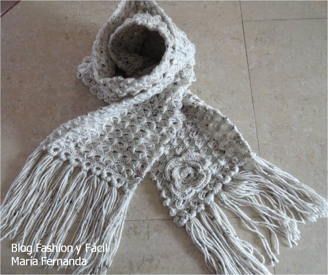 Increíble Patrón De Crochet Fácil Para La Bufanda Adorno - Manta de ...