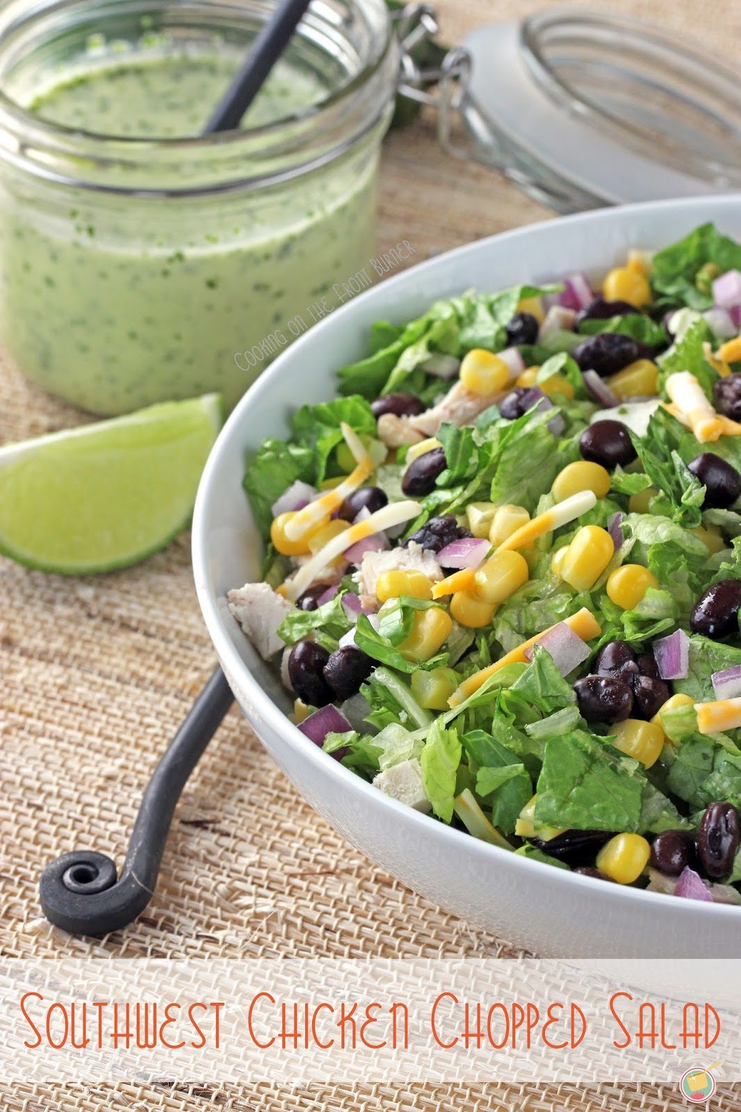 Southwest Chicken Chopped Salad - full of fresh flavor with a creamy jalapeno dressing | Cooking on the Front Burner #southwestsalad #jalapenosaladdressing