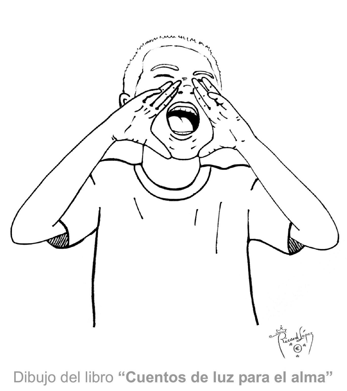 Dibujos muy originales para colorear: Dibujo de un niño gritando
