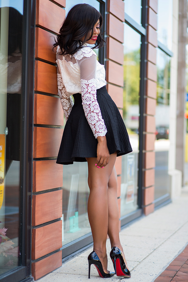 chicwish skater skirt and christian louboutin