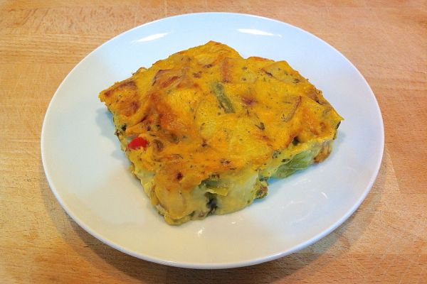 vegan baked frittata made with The Vegg vegan egg yolk