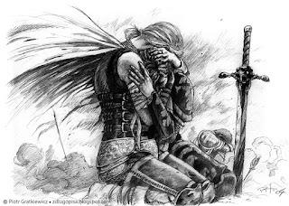 Szkic ołówkiem do grafiki fantasy.