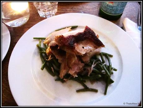 nouveau resto bistrot Poulette rue Etienne Marcel Paris, plat demi poulet fermier rotisserie haricots verts frais