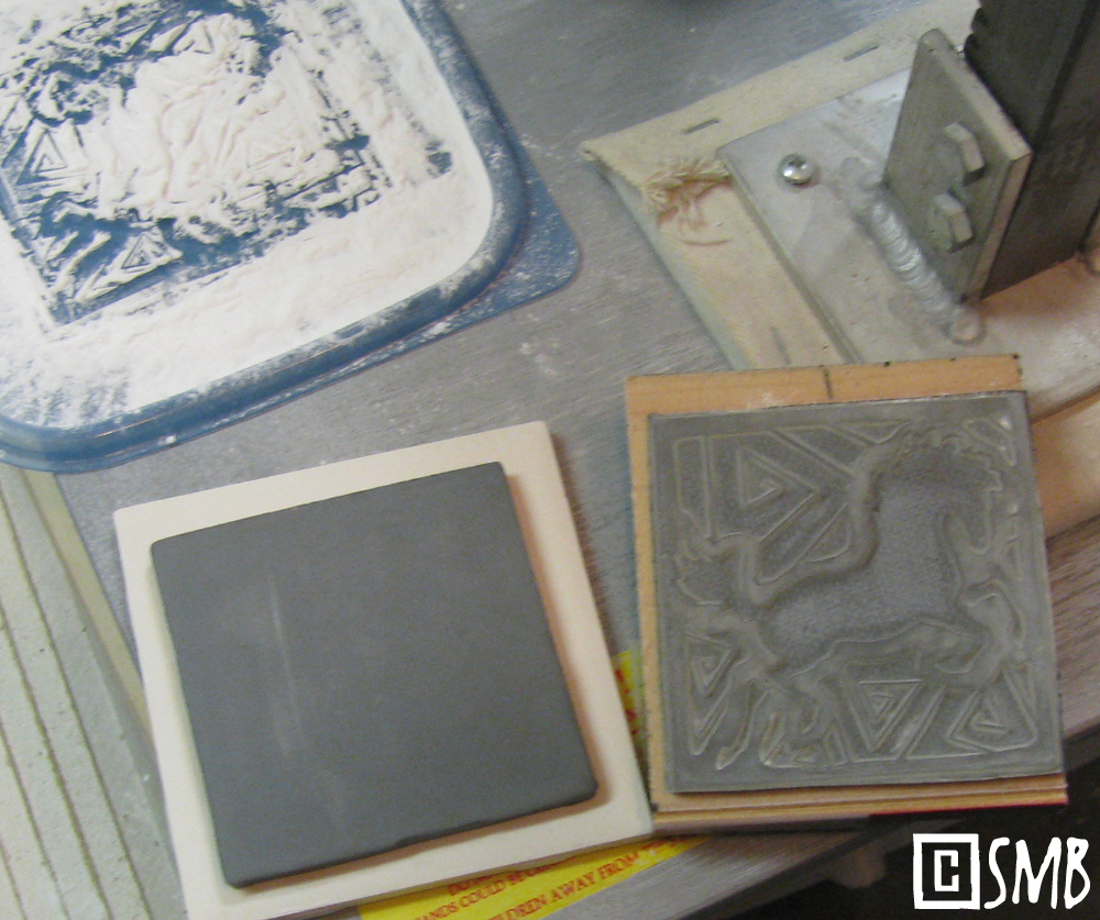 Musings at minkiewicz studios llc tick tock tiles here are the regulars in the process clockwise from top left baby powder sir squish my tile press the custom stamp made from my design dailygadgetfo Choice Image