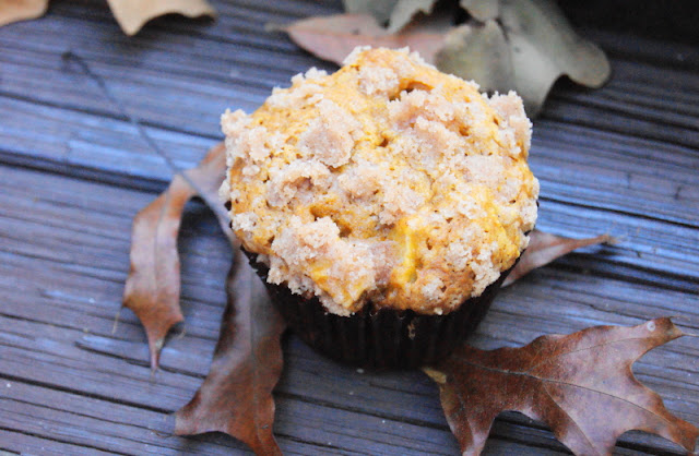 Pumpkin Apple Streusel Muffins ~ 2 fall flavors are perfect together in these tender & tasty muffins!   www.thekitchenismyplayground.com