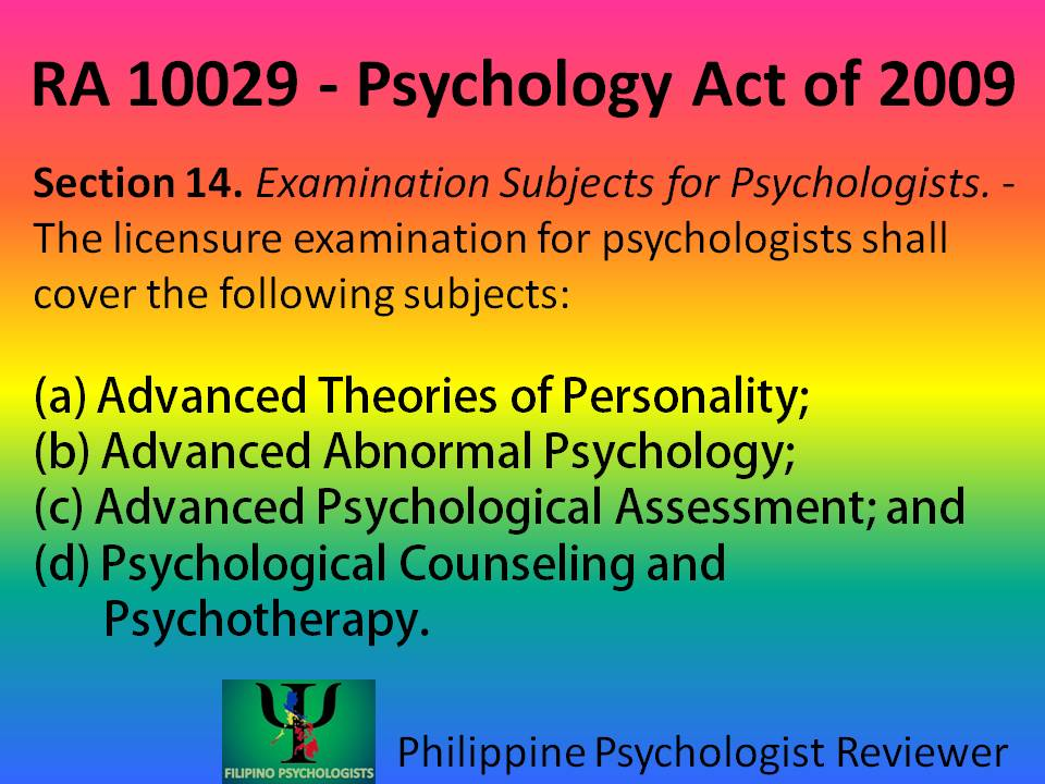 Examination Subjects for Psychologists