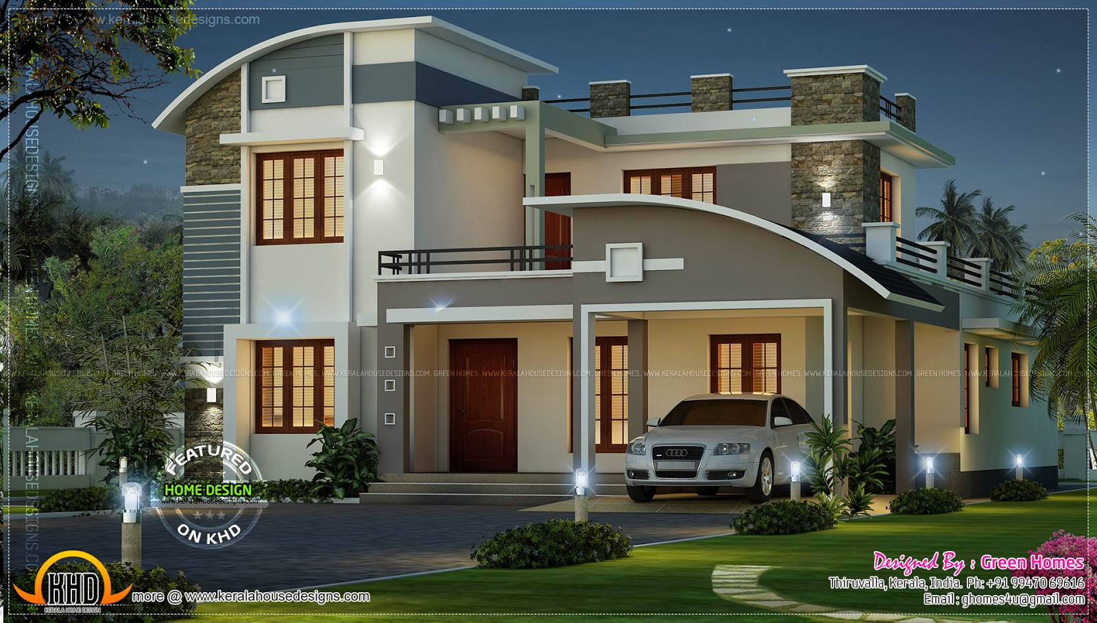 Modern beautiful home kerala home design and floor plans for Modern villa plans and elevations