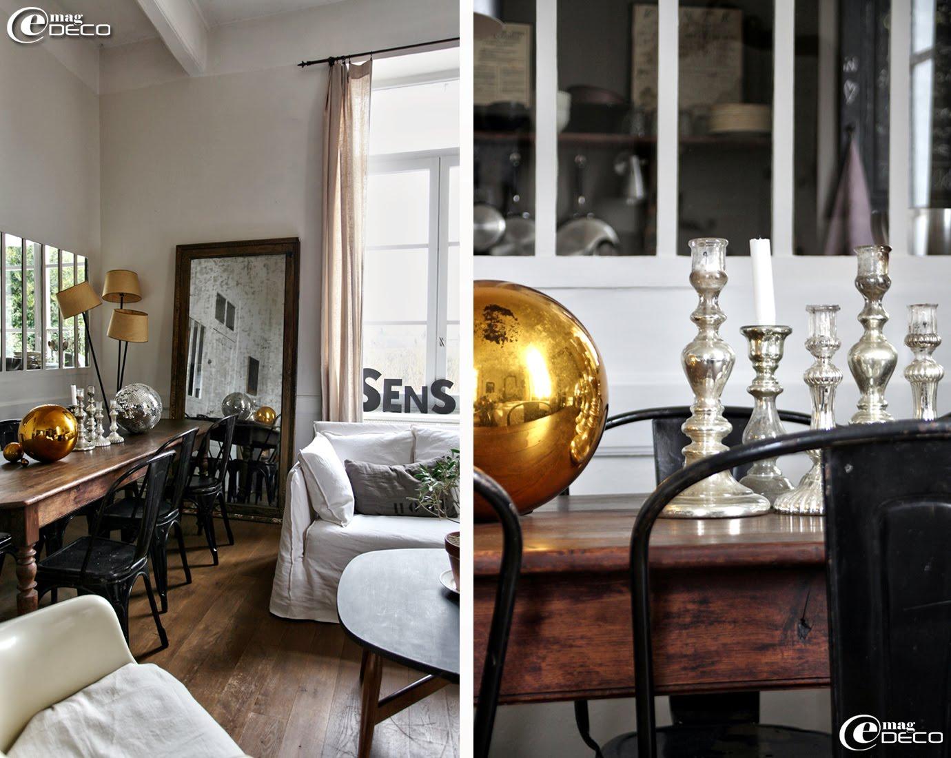 Grosse boule au mercure couleur or chinée à Avignon et bougeoirs au mercure