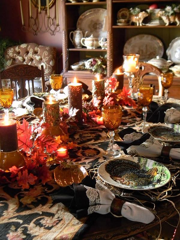 Thanksgiving Table Setting w/ Black Turkey Plates & Nancyu0027s Daily Dish: Thanksgiving Table Setting w/ Black Turkey Plates