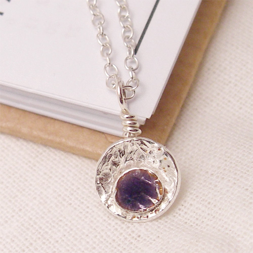 Purple Enamel Silver Seed Pod Pendant Necklace: Textured Silver
