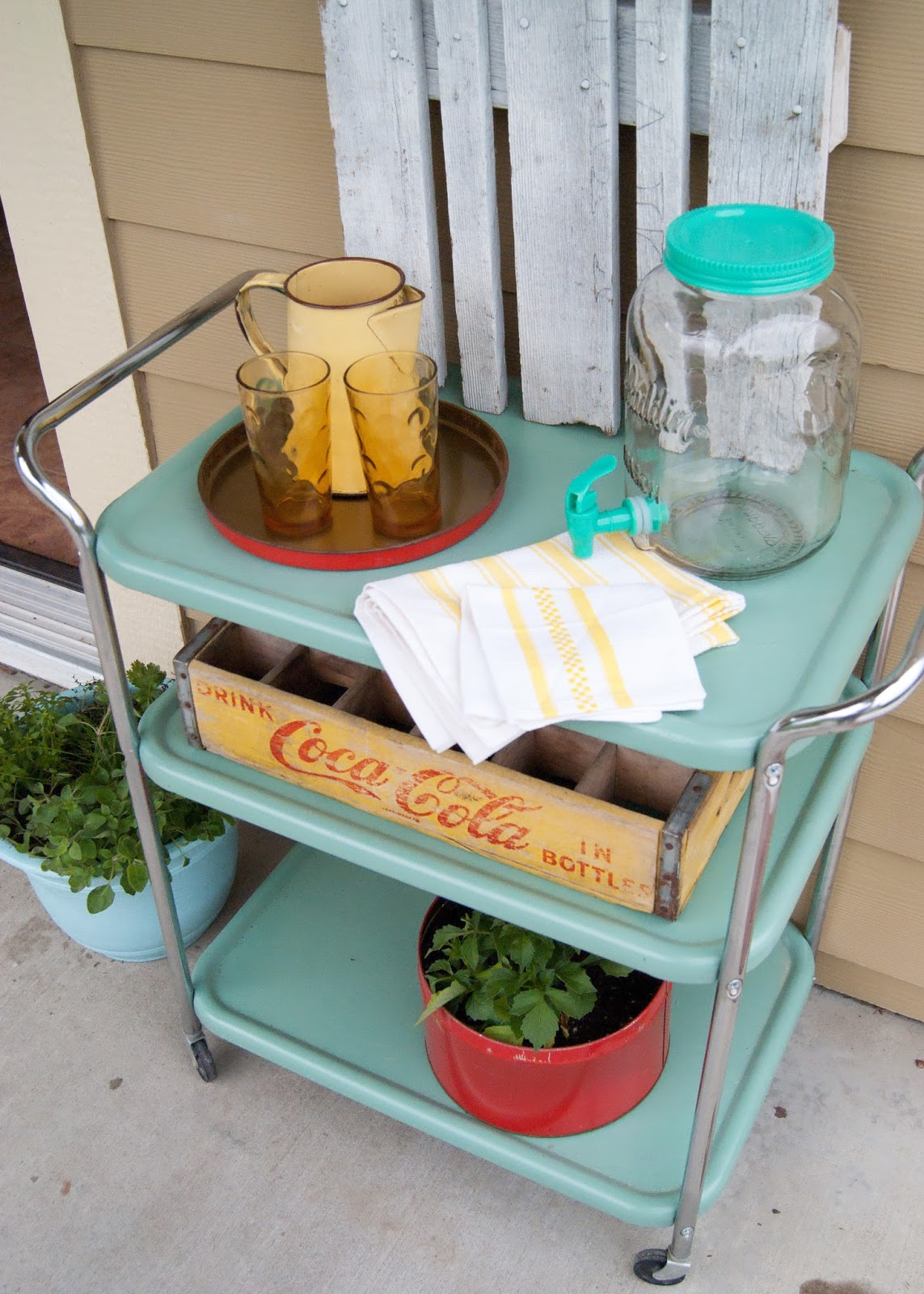 Vintage cart, glasses, coke crate and tea towels - after