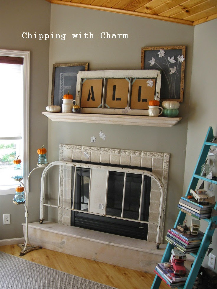 Chipping with Charm:  Simple Fall Mantel 2014...http://www.chippingwithcharm.blogspot.com/