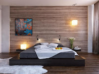 Imagen: Decoración de una pared de dormitorio con estilo de madera decorada con un cuadtro y dos lamparas cuadradas