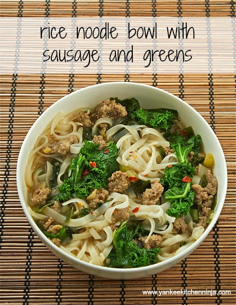 rice noodle bowl with sausage and greens