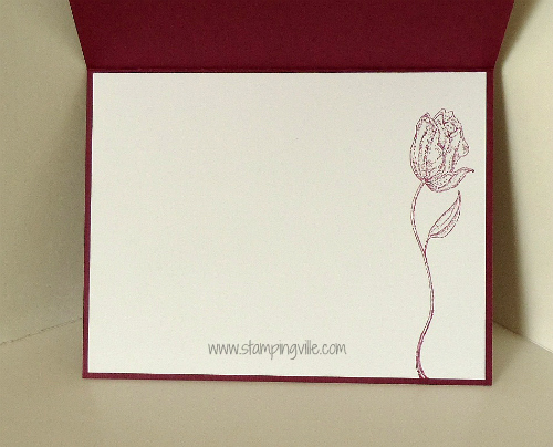 Elegant rose from Flores Suaves Stamp Set is stamped inside the card