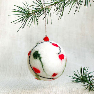 Christmas tree felted ornament ball