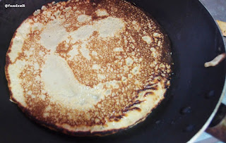 baked out pancake in the frying pan