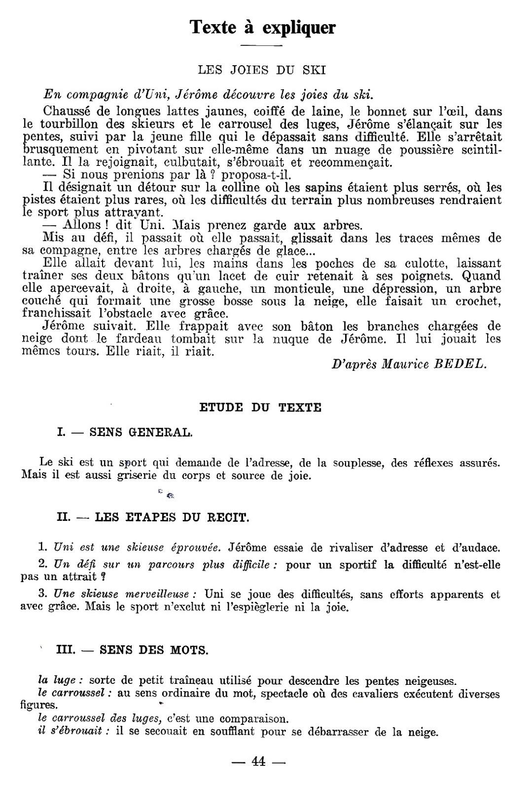 manuels anciens le ski du vocabulaire au paragraphe cm