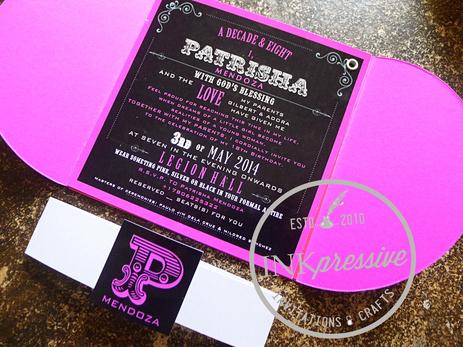 Debut invitation hot pink and black half petal envelope debut invitation hot pink and black half petal envelope party accessories stopboris Image collections