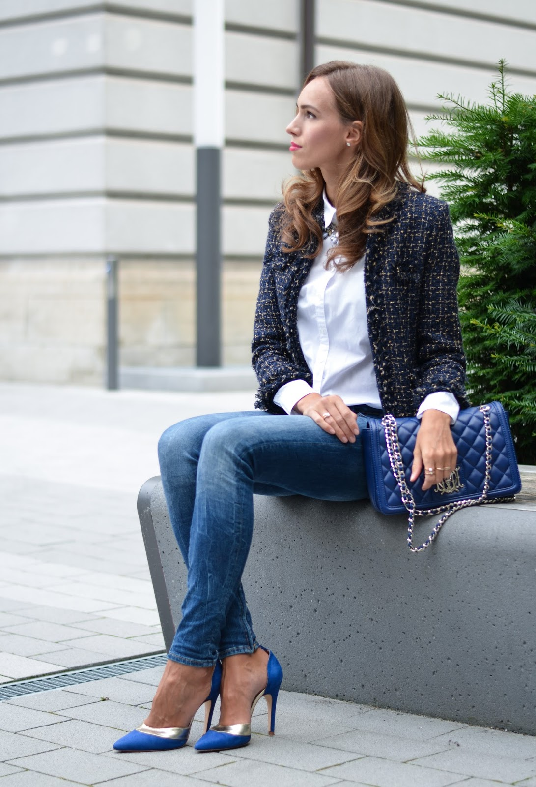 kristjaana mere blue jacket skinny jeans stilettos