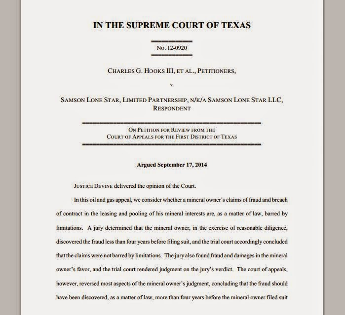 HOOKS v. SAMSON LONE STAR, LIMITED PARTNERSHIP, No. 12-0920 (Tex. January 30, 2015)