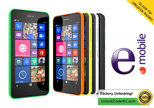 Factory Unlock Code for Lumia 625 from e-Mobile Ireland