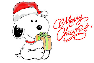 snoopy with Santa Claus hat smiling photo with merry Christmas letters