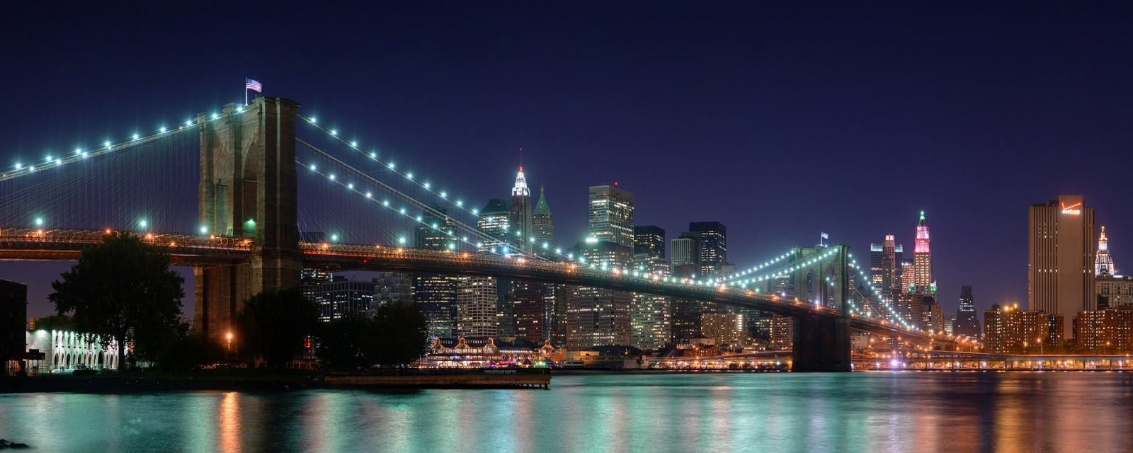 brooklyn bridge panorama dual monitor wallpapers - Brooklyn Bridge Panorama Dual Monitor Wallpapers HD