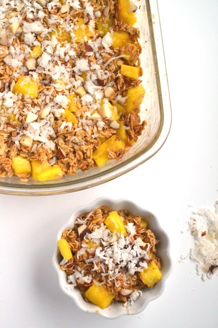 This piña colada baked oatmeal will remind you of a tropical vacation and is healthy and filling! Prep ahead of time and bake in the morning.