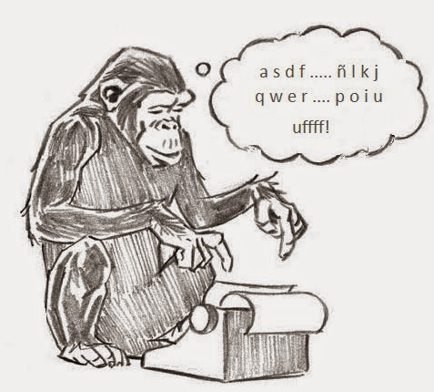 primate tecleando