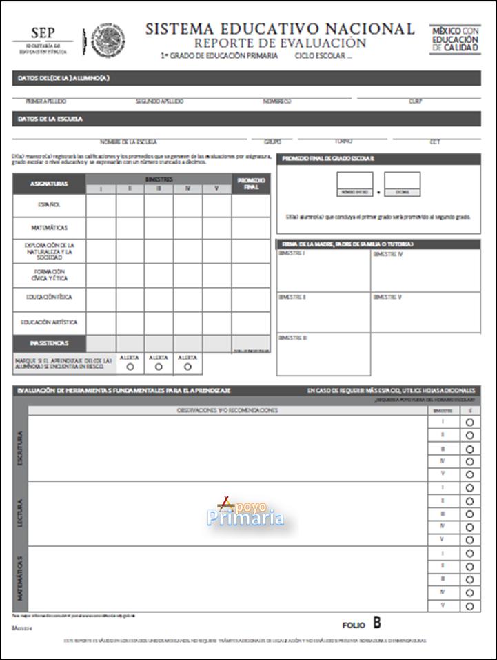 Reporte de Evaluación para Primer Grado 2014 - 2015