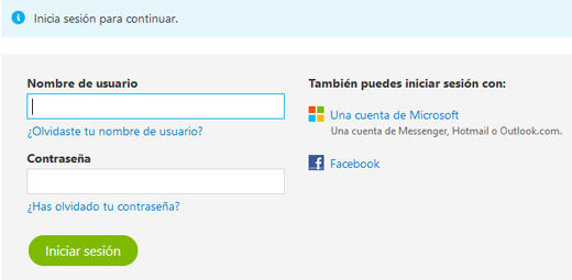 Iniciar sesion en Skype