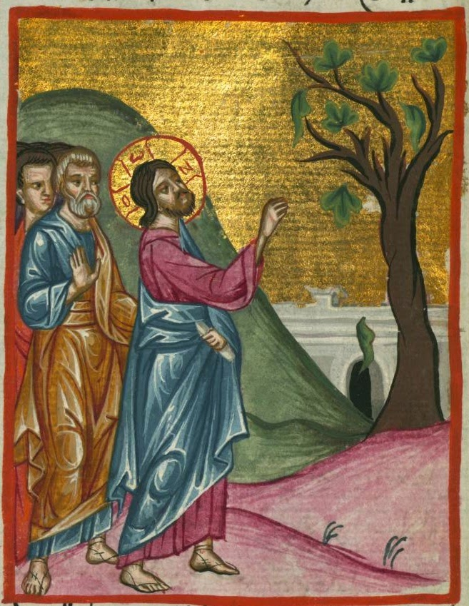 http://commons.wikimedia.org/wiki/File:Ilyas_Basim_Khuri_Bazzi_Rahib_-_Jesus_Curses_the_Fig_Tree_-_Walters_W59258A_-_Full_Page.jpg