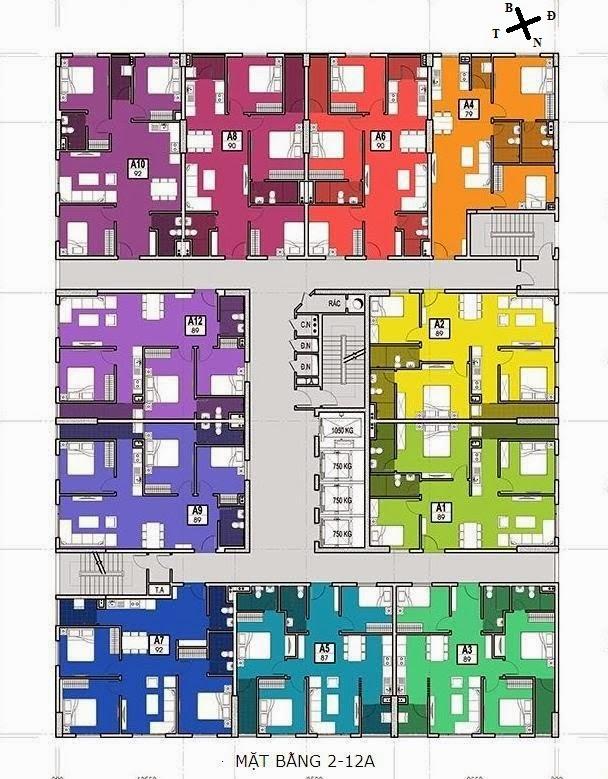 mặt bằng tầng 2-12a chung cư 283 khương trung bộ công an