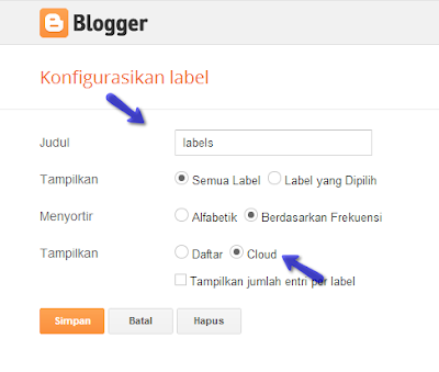 Konfigurasi Label Widget Blogger