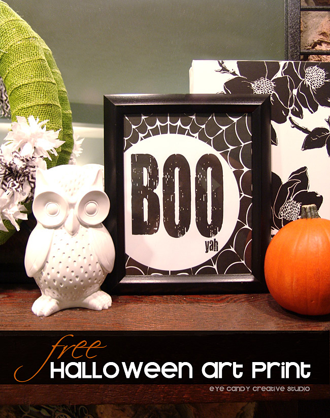 BOO art print, black and white halloween decor, owl, pumpkin, green wreath